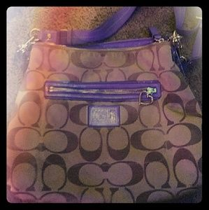 Tan and Purple Coach Purse